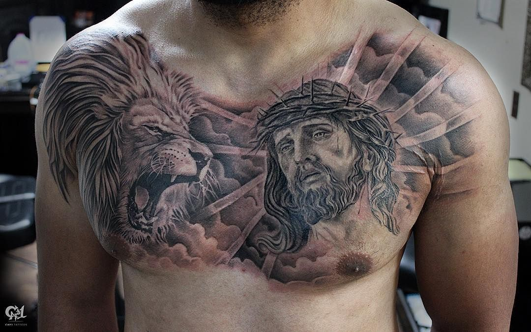 Lion Chest Tattoo Black And Grey Realism At Tattoosbycapone