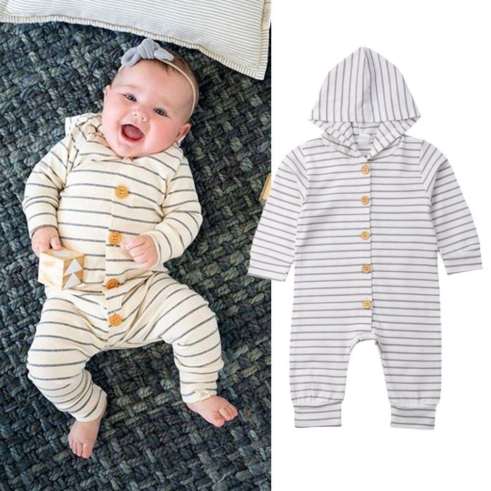 c75762e22 Newborn Infant Baby Boy Girl Clothes Striped Cotton Jumpsuit Button ...