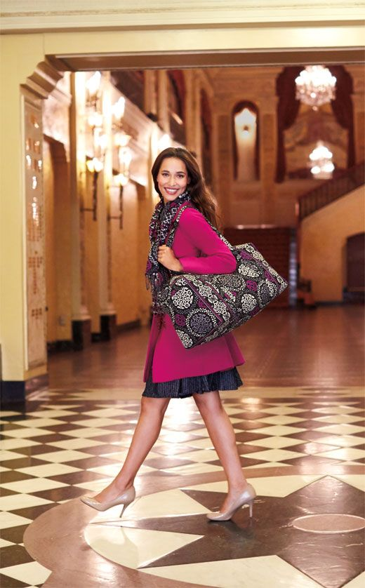 Vera Bradley Winter 2013  Large Duffel and Fringe Scarf in Canterberry  Magenta ed08e68937ce9