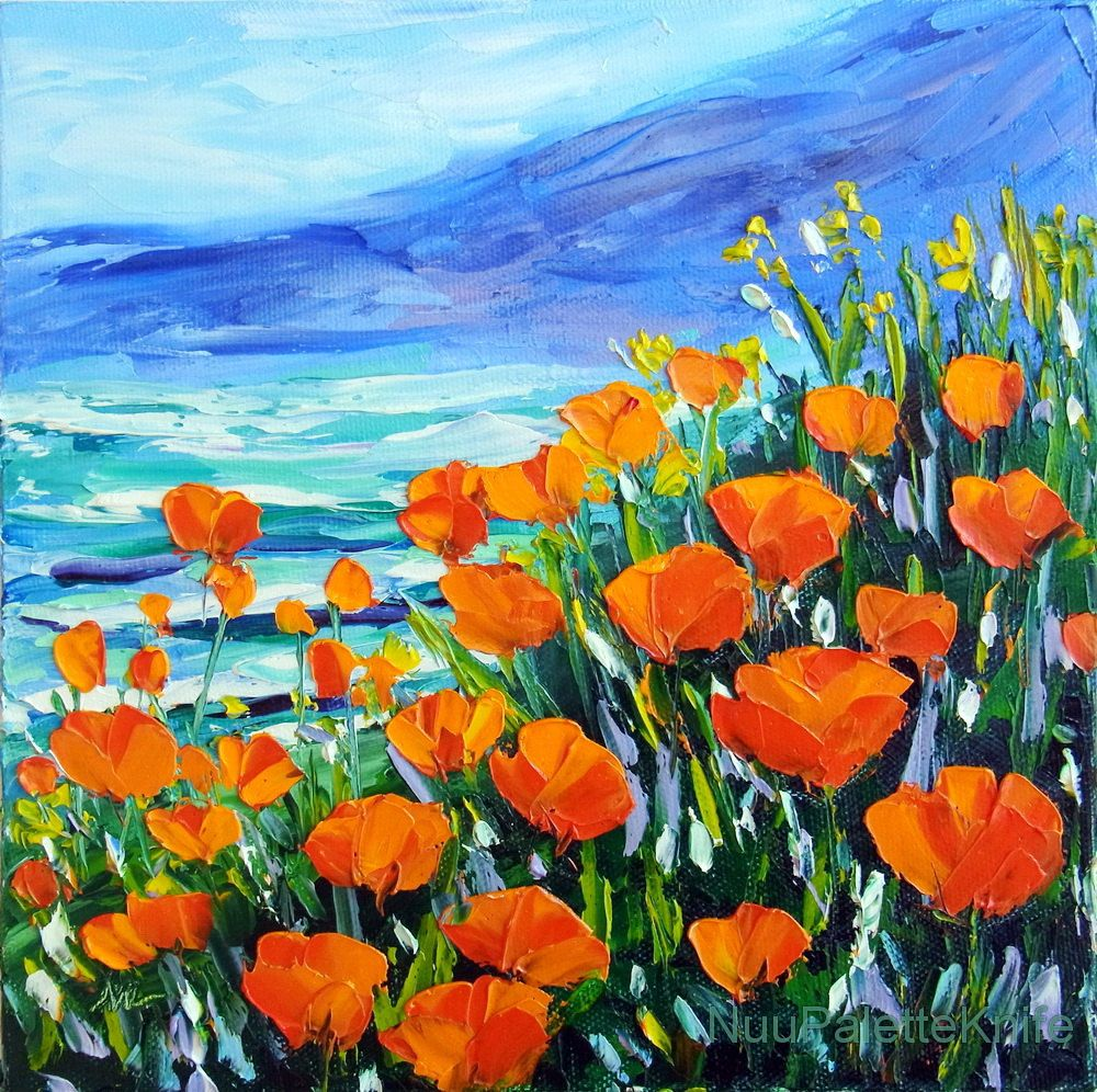 NuuPaletteKnife Painting, Art, Orange poppy