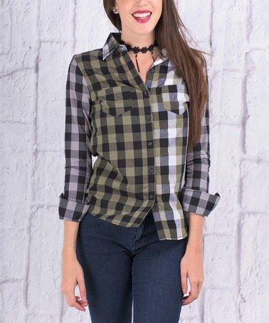 Another great find on #zulily! Green & Black Contrast-Plaid Roll-Tab Sleeve Button-Up #zulilyfinds