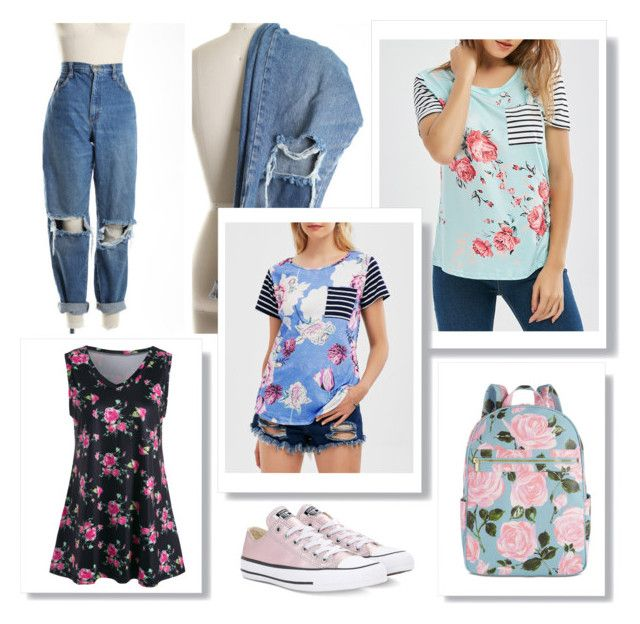 """""""Floral print items (contest)"""" by beerrks ❤ liked on Polyvore featuring Converse and ban.do"""