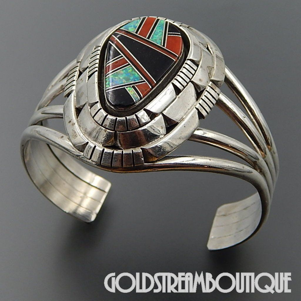 Native American Indian Jewelry Sterling Silver Cuff Bracelet by Tom Lewis