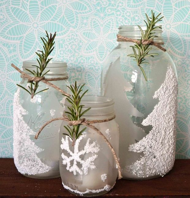 glass jars christmas crafts with decorating rope rosemary and decorative artificial snow diy recycled ideas - Decorative Glass Jars