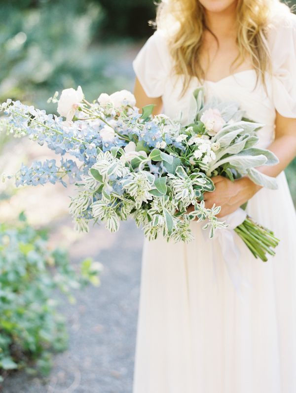 A French Countryside Picnic Wedding Bridal Bouquet Blue Hand