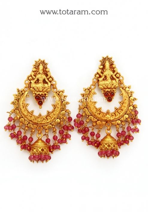 Chandbali Earrings Temple Jewellery 22K Gold Lakshmi Drop