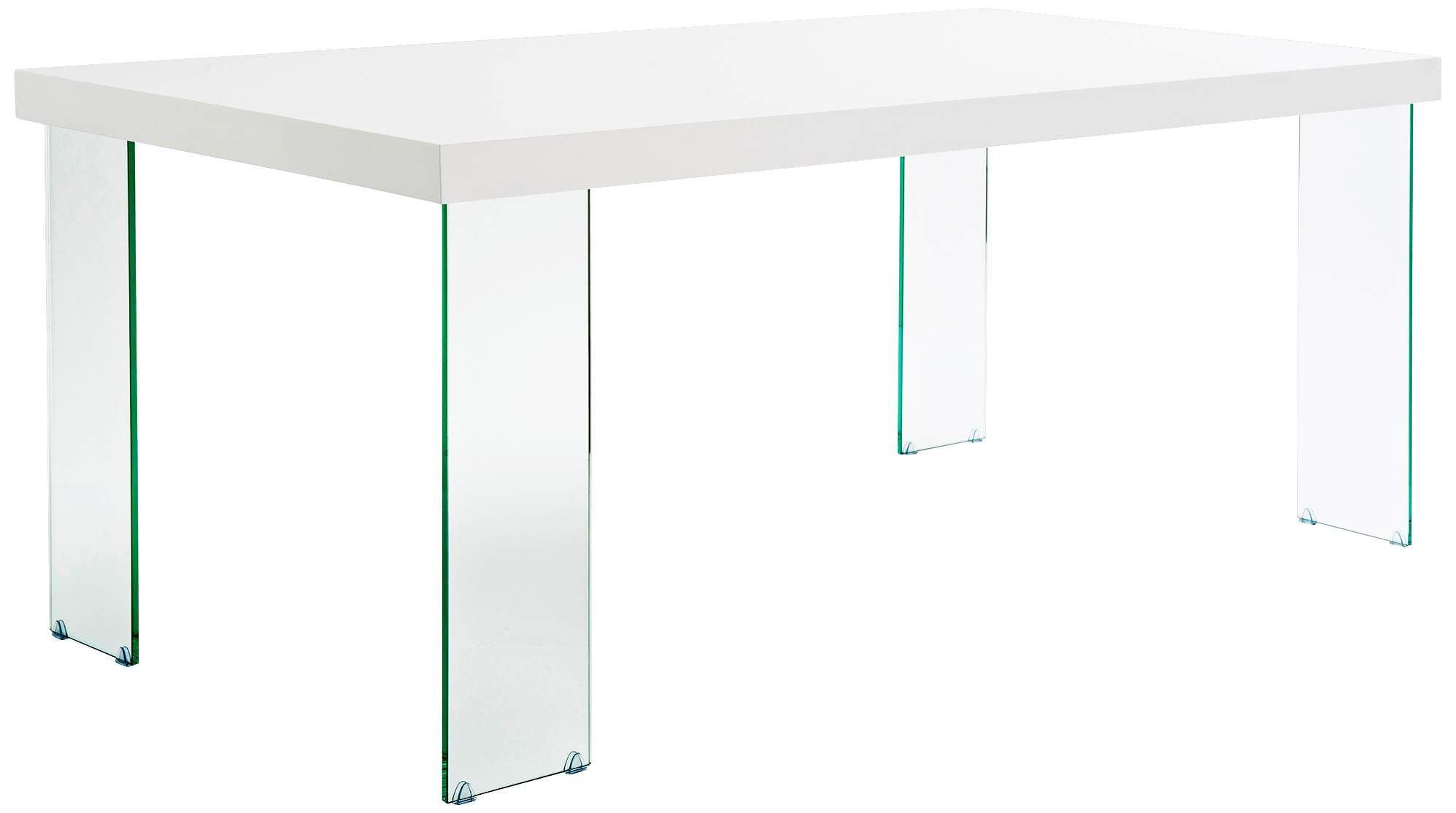 The Cabrio collection features beautiful rectangular dining tables with tempered glass legs. When viewed from any side, alternating wide and narrow stance legs offer visual interest. Comes with a white finish tabletop.