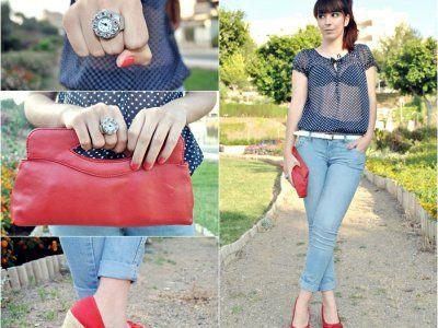 lovelystyle Outfit  casual Jeans cuñas look dots lovelystyle  Verano 2012. Cómo vestirse y combinar según lovelystyle el 13-6-2012