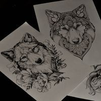 Flowers and wolf.