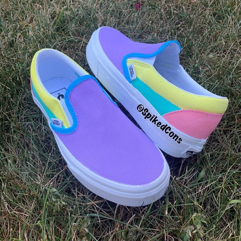 Custom Unicorn Colored Slip On Vans