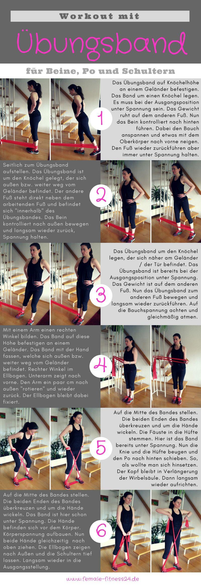 Workout mit dem Übungsband für Bauch Beine & Po Schultern