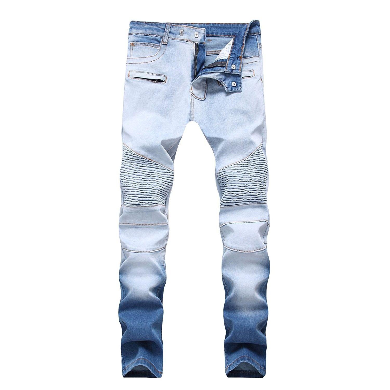 Men/'s Slim Fit Ripped Stretchy Jeans Distressed Denim Pants Biker Long Trousers