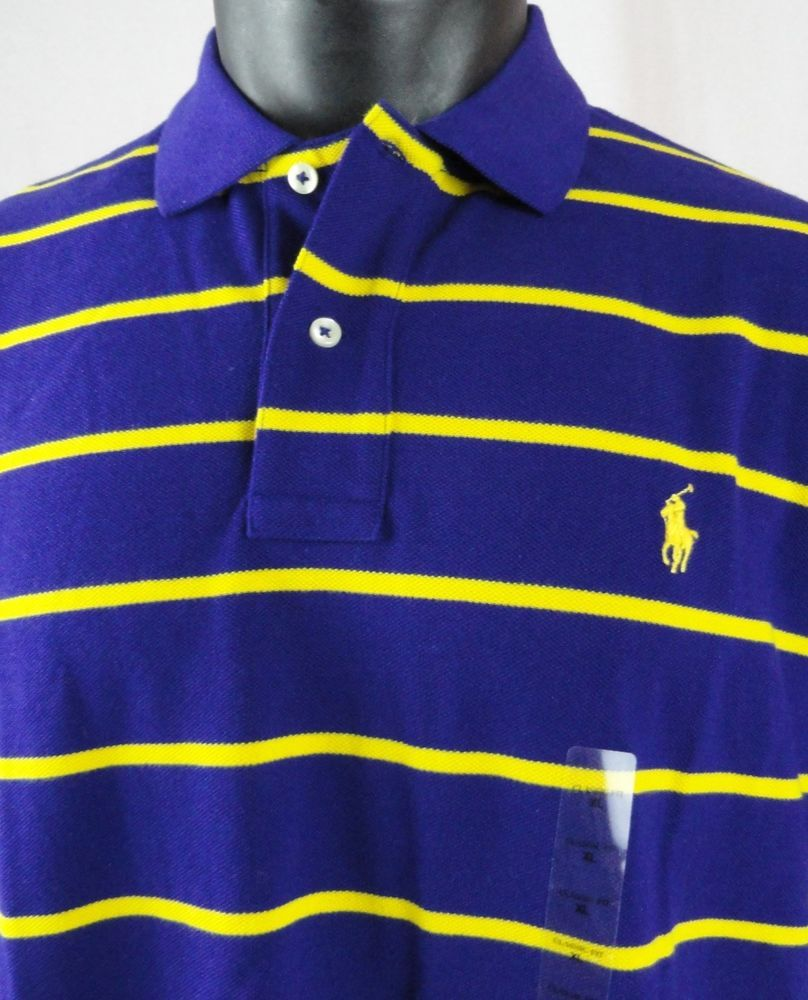 NWT Polo Ralph Lauren Mens XL Rugby Shirt Mesh Purple Yellow Striped SS  Cotton