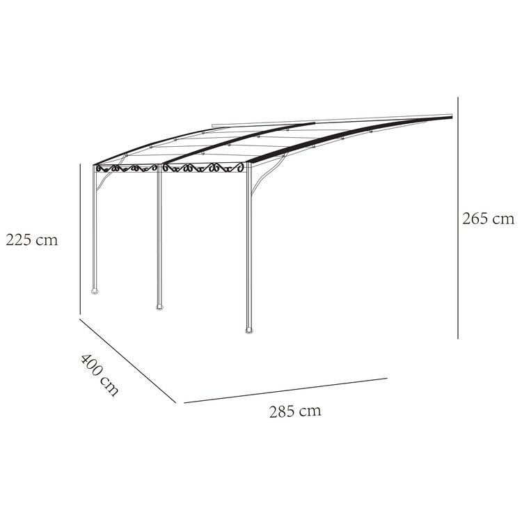 Structure Acier Toile Polyester 220 G M Dimensions Longueur 285 Cm Largeur 400 Cm Hauteur De 225 265 Cm Tonnelle Adossee Auvent Terrasse Tonnelle