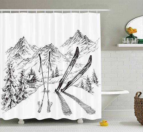 Sports Decor Shower Curtain By Ambesonne Winter Activity