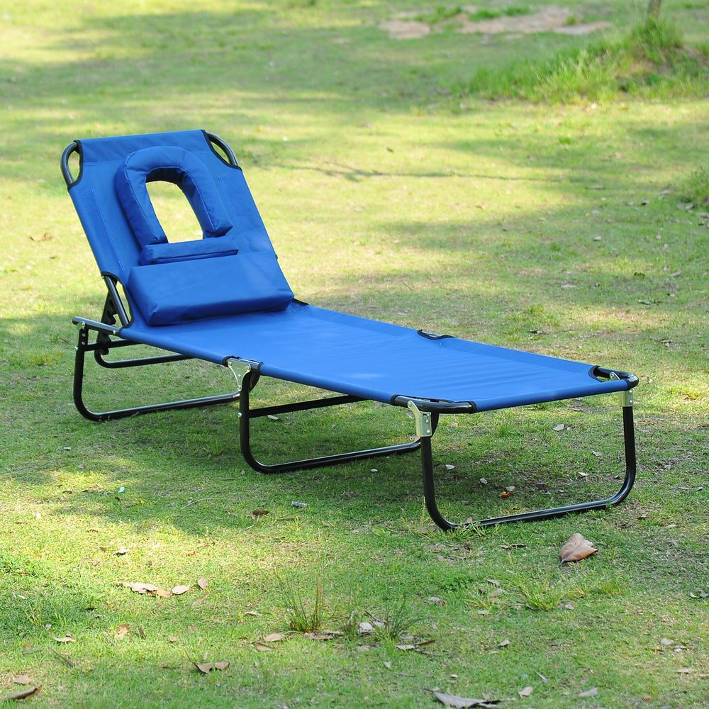 Beach lounge chair portable - Folding Face Down Beach Sun Lounger Bathing Tanning Lounge Chair Camping Cot Bed Outsunny