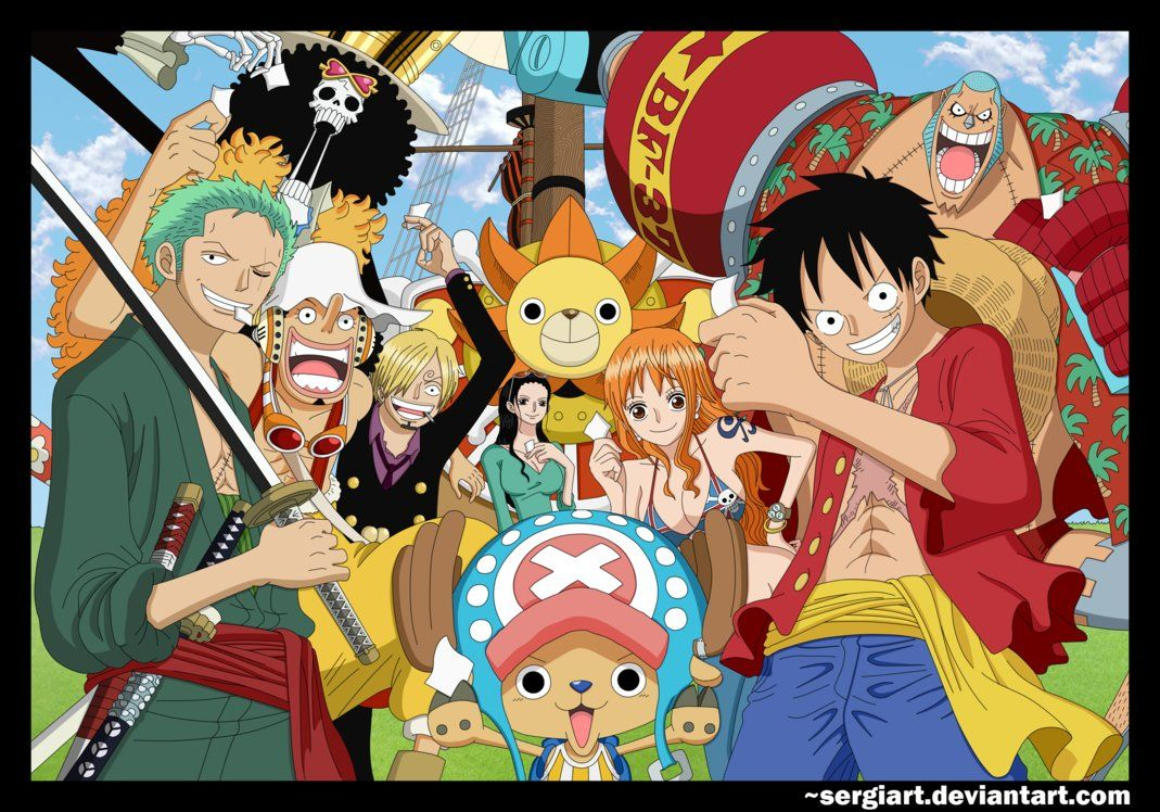 The Strawhat Pirates (Luffy, Zoro, Nami, Usopp, Sanji, Chopper, Robin, Franky and Brook) with their ship, the Thousand Sunny and their vivre cards. This is a colorspread Oda drew