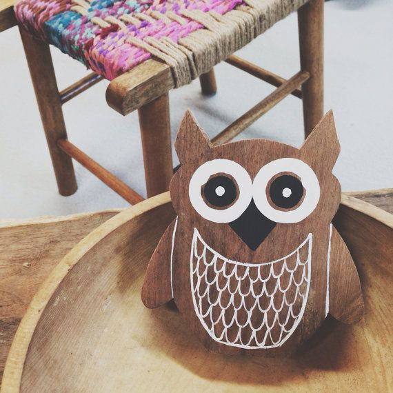 Wooden Owl - woodland animals - Reclaimed Wood -  handmade and painted on Etsy, $20.00
