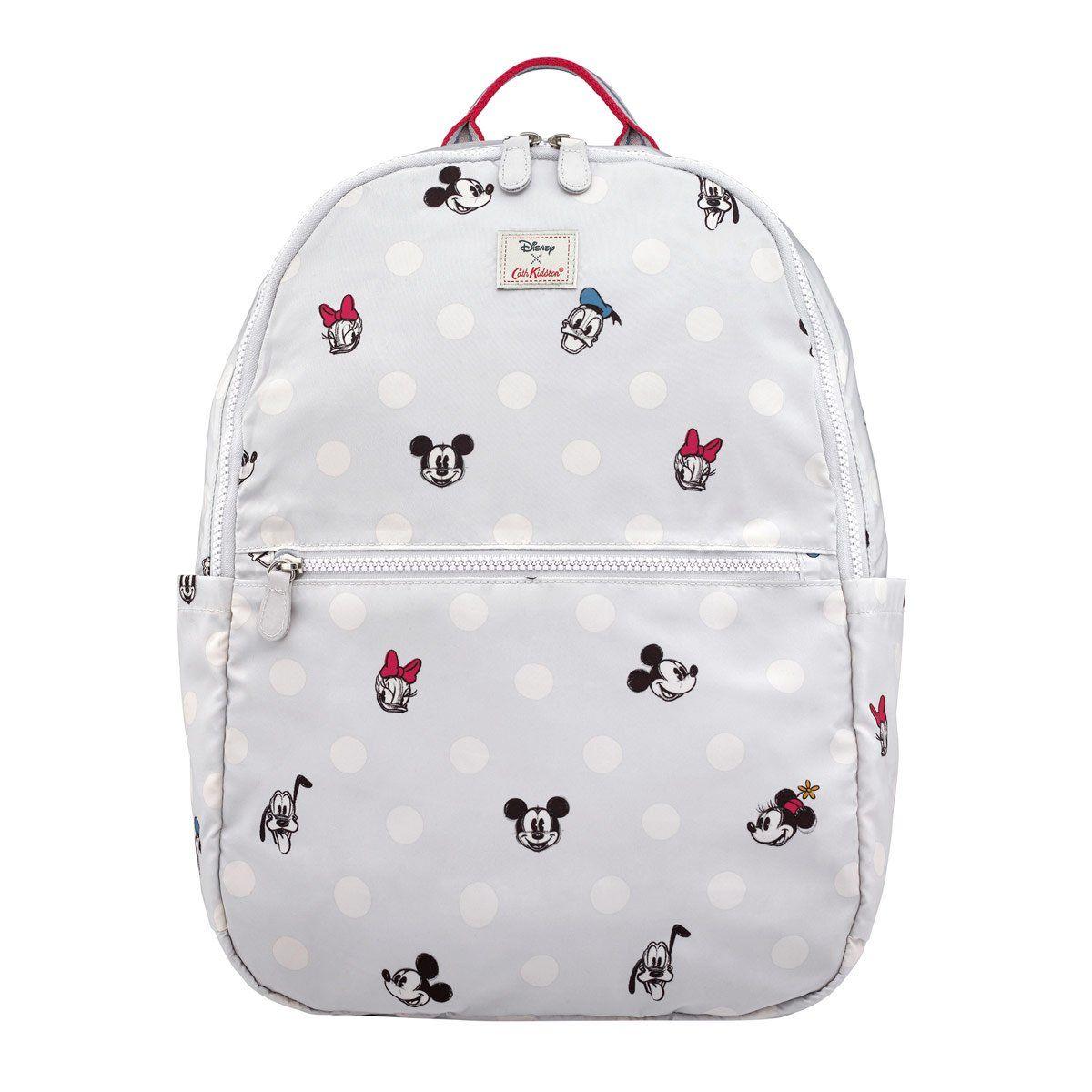 57fa800b9bb Cath Kidston Disney Mickey and Friends Button Spot Foldaway Backpack ...