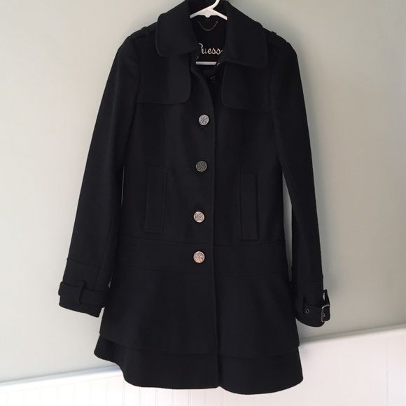 Guess Ruffle Bottom Wool Coat Gorgeous wool blend coat, lined, in excellent condition. The ruffle bottom just makes it so girly & cute! Guess Jackets & Coats