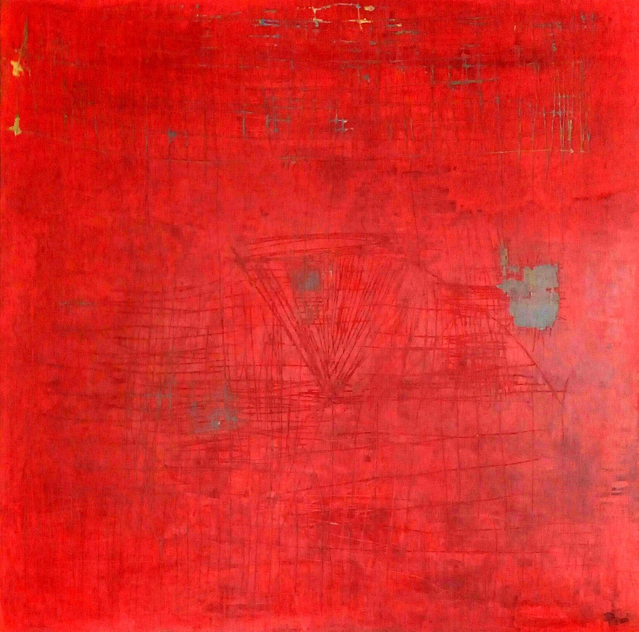 """Caminando sobre rojo"" Mixta Sobre madera 1,22 x 1,22 cm 2015. Vendido"