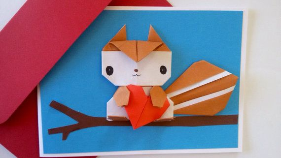Valentine Love Card Origami Squirrel JollyCards