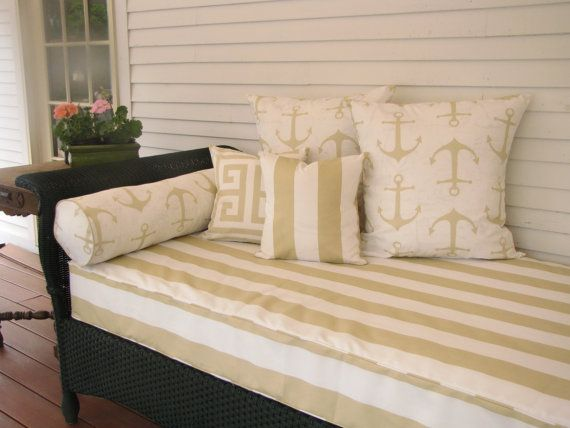 Twin Size Outdoor Mattress Cover For Your Porch Swing Or Daybed This Fabric Is Vertical Stripe X2f Sand B Outdoor Mattress Striped Upholstery Mattress Covers