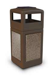 Outdoor Trash Can With Wheels Glamorous 42 Gallon Stonetec Indoor Outdoor Trash Can Dome Lid And Ashtray Design Ideas