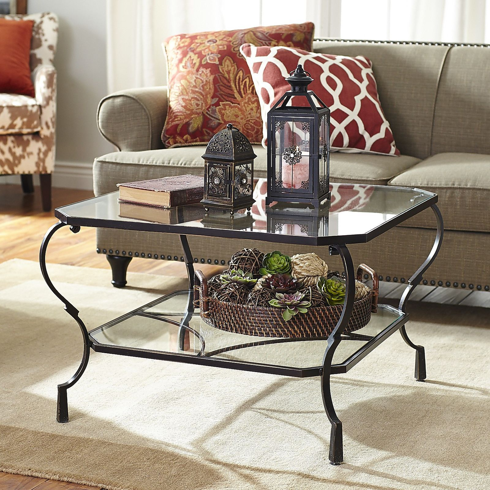 Chasca Glass Top Brown Square Coffee Table Family Room