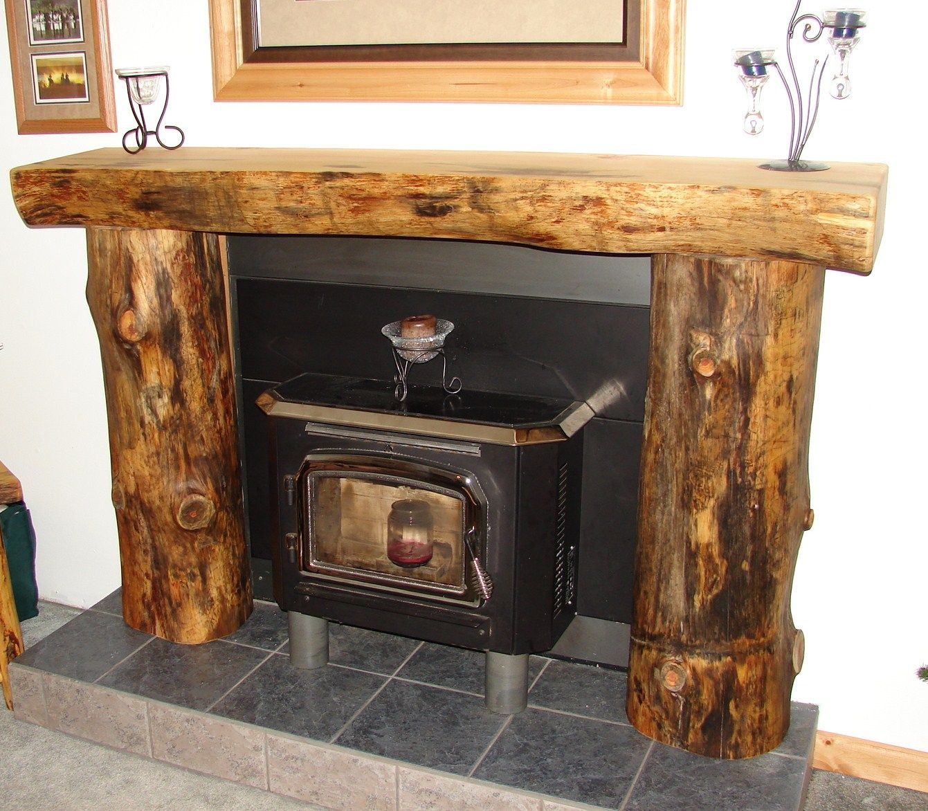 Rustic fireplace mantels and surrounds ideas for Wood fireplace surround designs