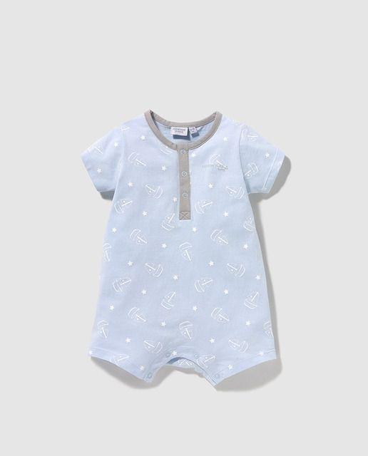 043fc2390f Pijama de bebé niño Cotton Juice en azul con estampado