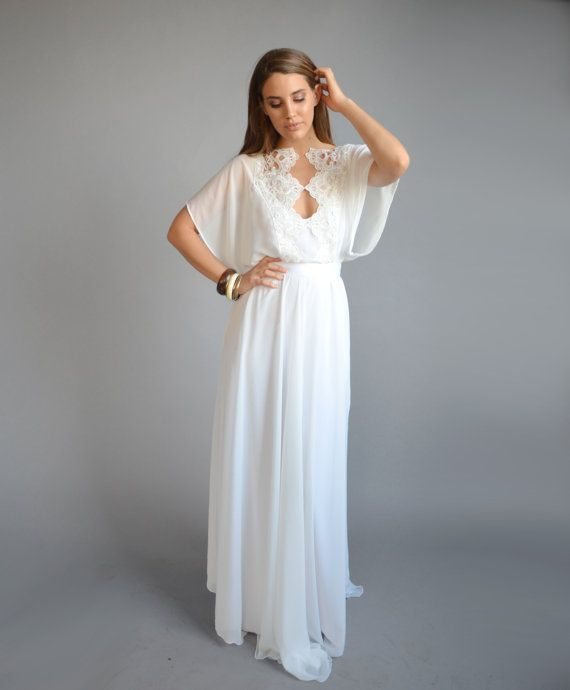 Chiffon Kaftan Wedding Dress Kimono Sleeves Embroidery At Cleavage