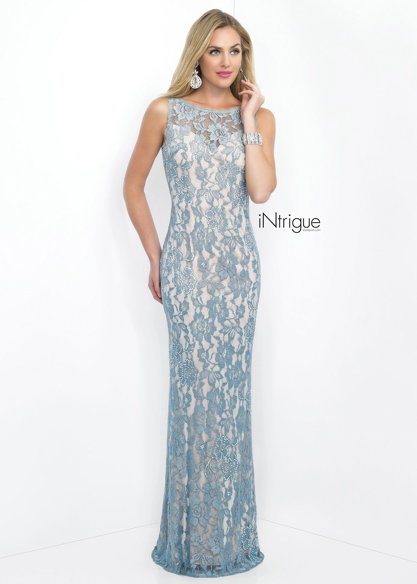 Intrigue silver divine high neck sheath evening gown classy in