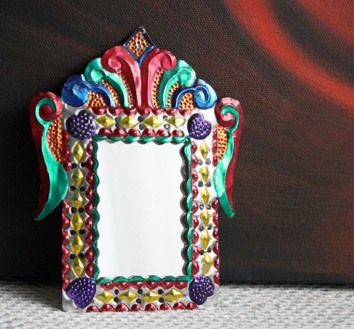 Mirror Mexican Art Tin Frame Over Small Mirror Hand Hammered