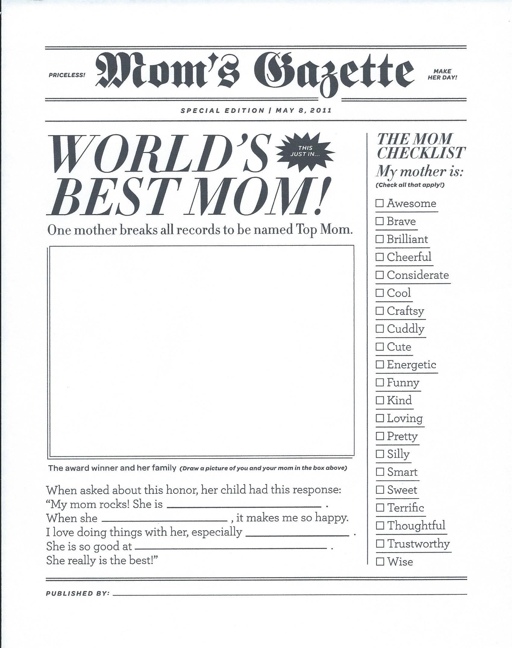 World S Best Mom Gazette Newspaper For My Cute Mom Mother