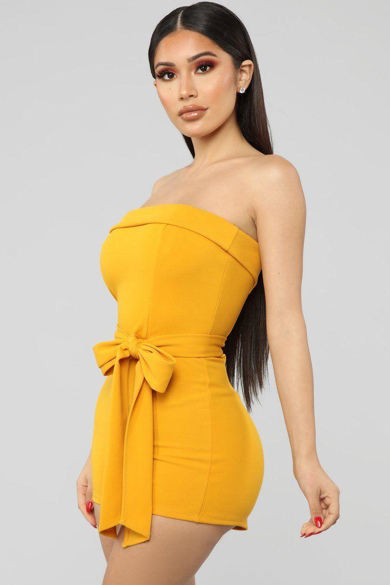 Essie Tie Waist Romper Mustard Summer Fashion Outfits Fashion Fashion Nova Outfits [ 1140 x 760 Pixel ]