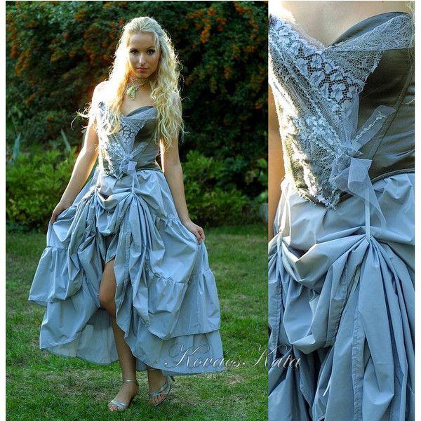 Corseted Grey Alternative Wedding Gown OOAK -Gerda ($445) ❤ liked ...