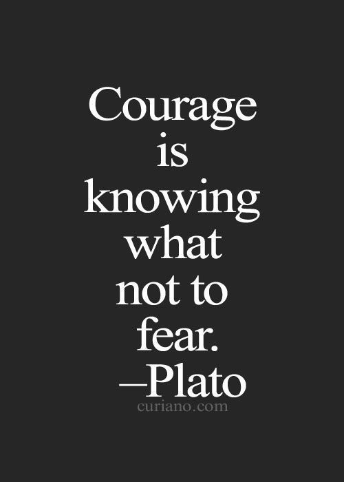 Famous Quotes About Fear Courage Is Knowing What Not To Fear Plato  Inspirational Quote .