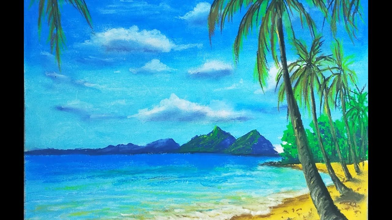 Seascape Waves Mountain Scenery Drawing For Beginners With Oil Pastels P In 2020 Easy Landscape Paintings Landscape Drawings Landscape Artist