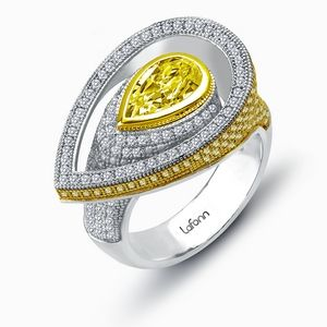 Lafonn Ring SIMULATED CLEAR/CANARY DIAMOND STERLING SILVER BONDED WITH PLATINUM