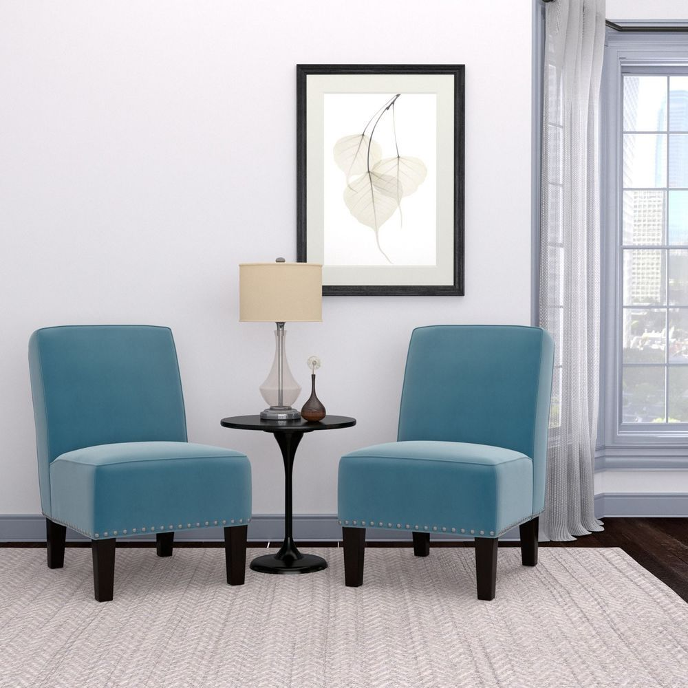 Blue velvet chair armless wood legs small spaces bedrooms living