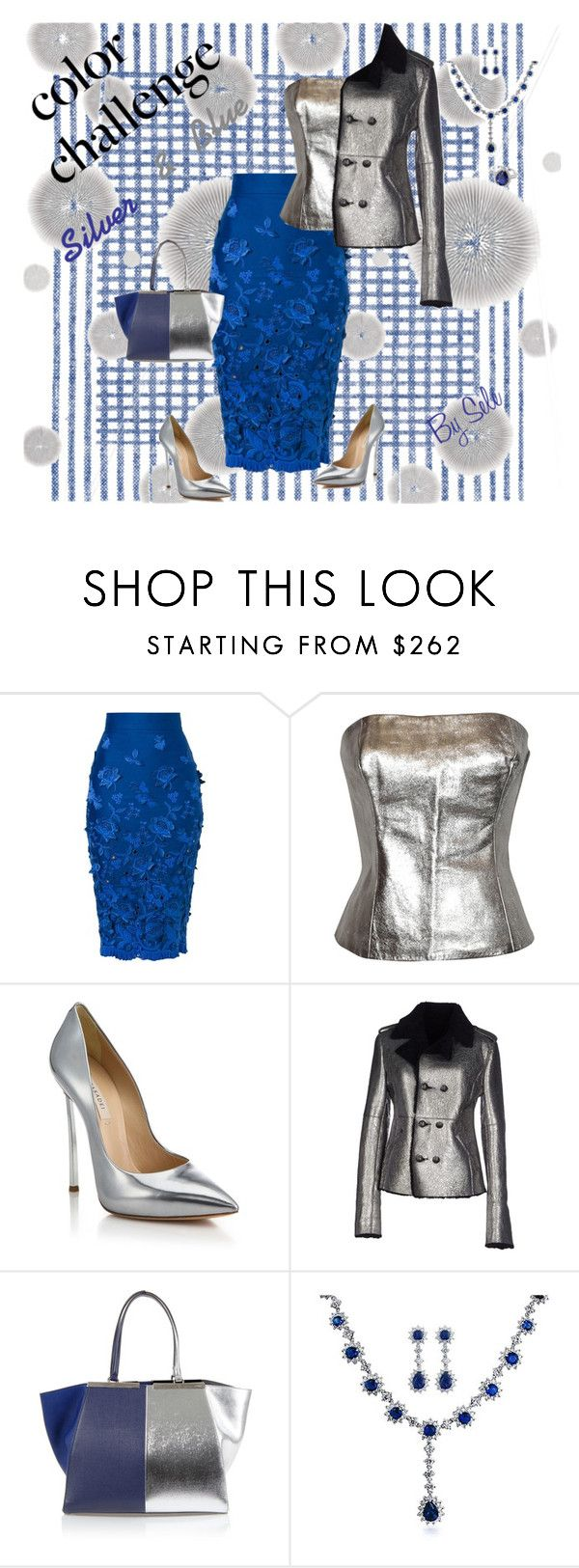 """""""Color Change : Silver & Blue"""" by selene-cinzia ❤ liked on Polyvore featuring Komar, Ermanno Scervino, Casadei, Each X Other, Fendi, Bling Jewelry and blueandsilver"""
