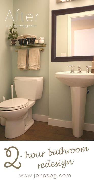 Bathroom Redesign In Two Ish Hours Jones Paint Glass Bathroom Redesign Teal Bathroom Basement Colors
