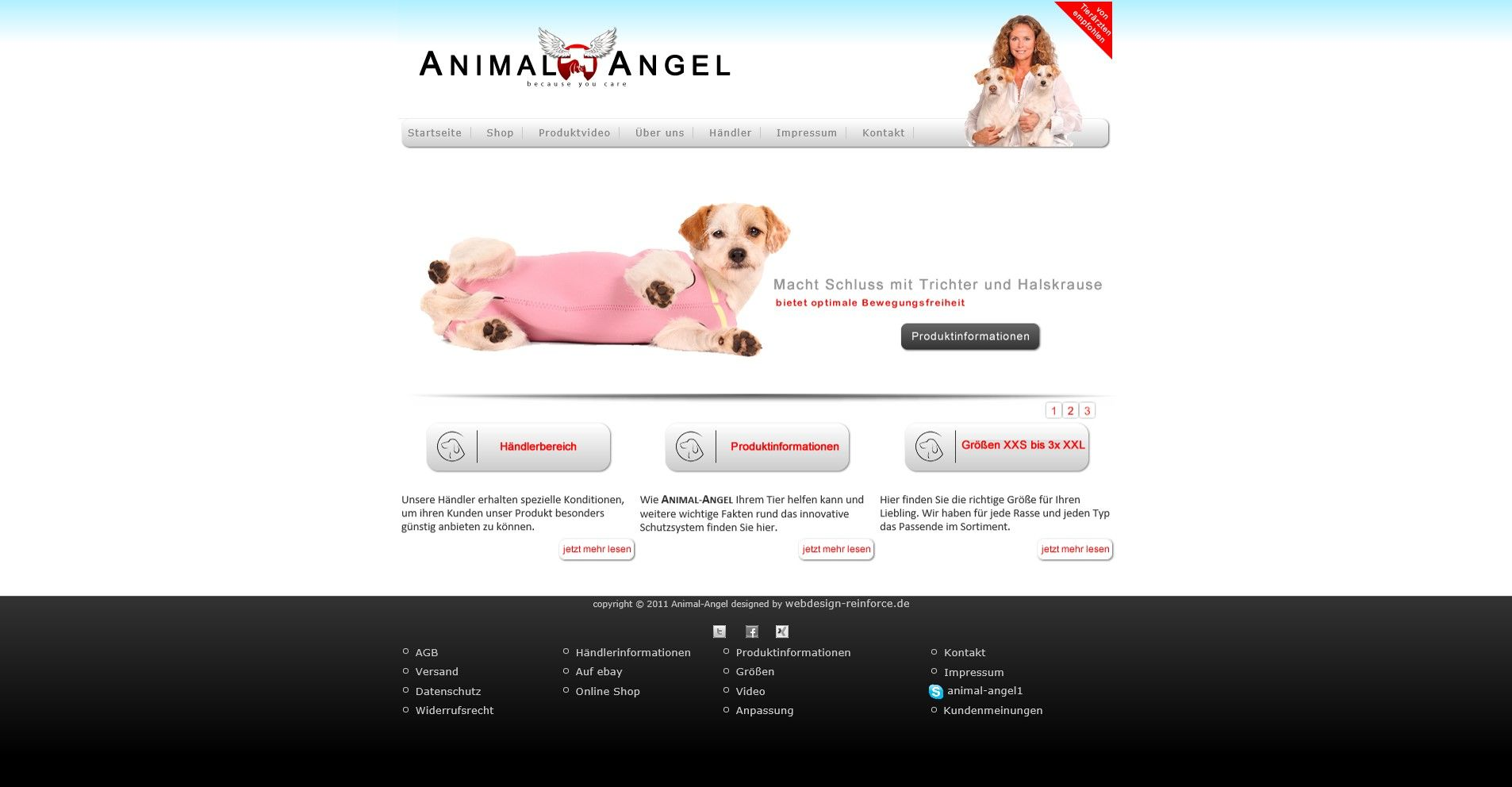 animal-angel.de wurde auf Joomla erstellt und anhand einer Opencart Vorlage angepasst. Eine Moderne Internetseite noch heute mit Downloadmöglichkeit und Videointegration (ohne Youtube) Das Produkt ist eine tolle Idee. Im Anschluss der Internetseite wurde ebenfalls noch ein Online-Shop beauftragt.