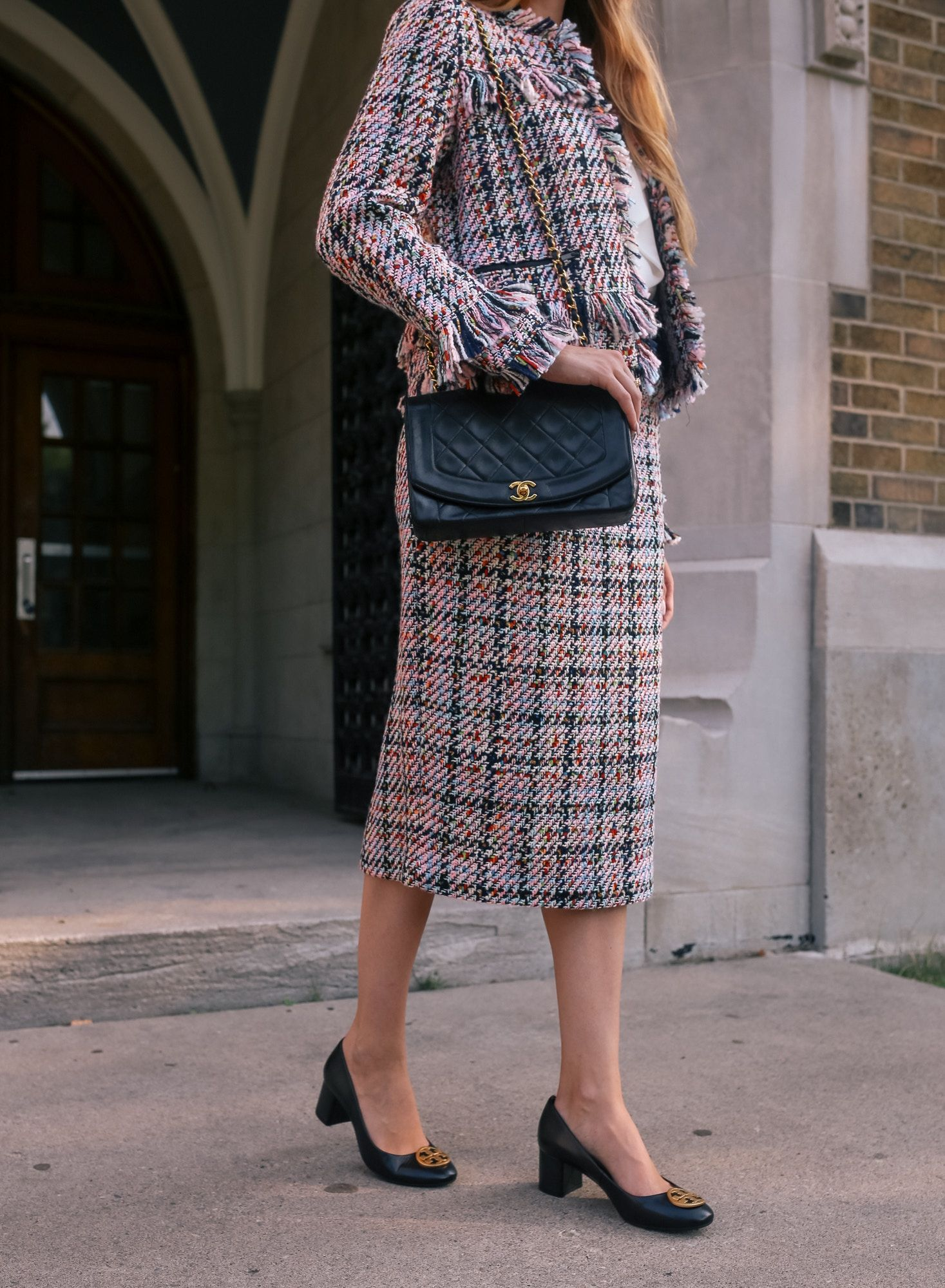 66c97868df halogen tweed midi skirt and jacket with Chanel bag | Outfit ideas ...
