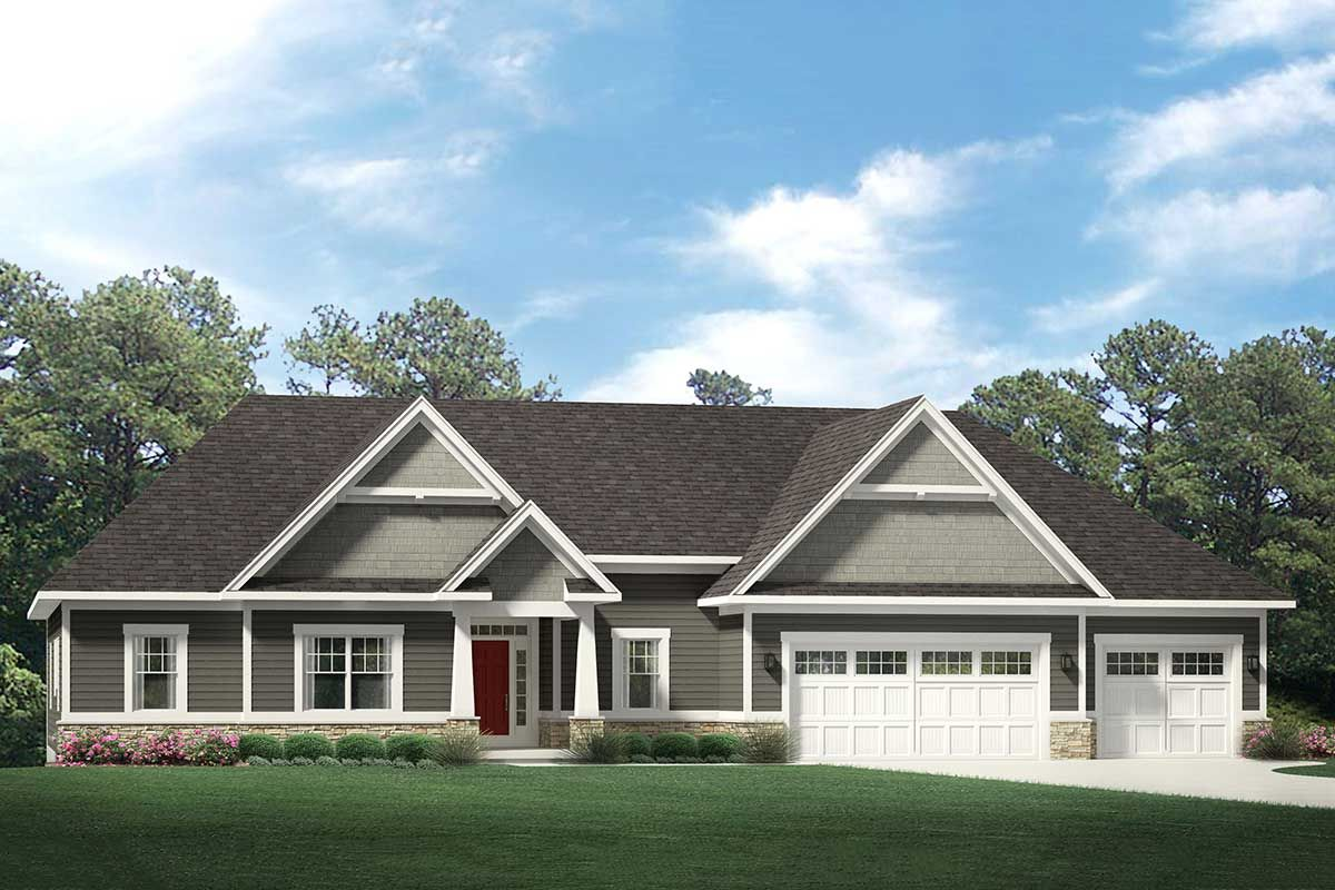 Plan 790040glv One Story Craftsman House Plan With 3 Car Garage Ranch Style House Plans Craftsman House Plans Craftsman House