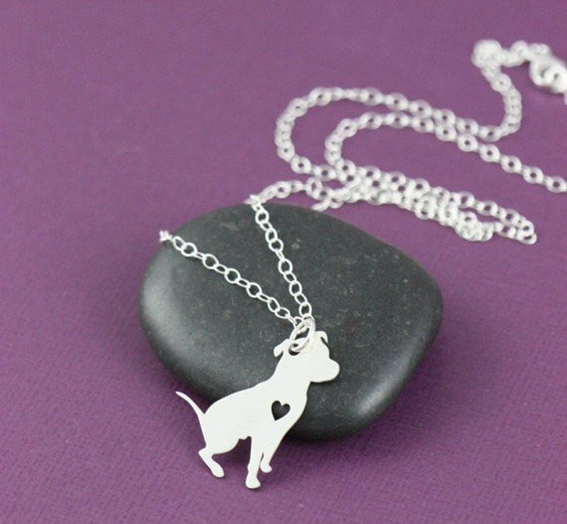 Pit Bull With Love Heart Necklace. 30% proceeds from every purchase goes to animal charities.