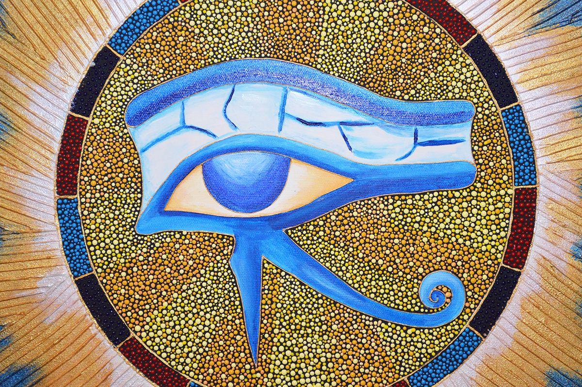 #egyptiansymbol #egyptianmandala #eyeofhorus #eyeofra #egyptianart #egyptpainting #coloursmeaning #goldenmandala #dotart #dotwork #pointopoint #protectionsymbol #godofsunpainting #dotpainting