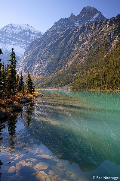 Mount Edith Cavell and Cavell Lake, Jasper National Park, Alberta