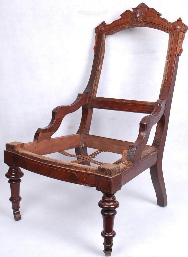 Antique 19c Wooden Mahogany Chair Frame with Carved Face UNIQUE NO RESERVE - Antique 19c Wooden Mahogany Chair Frame With Carved Face UNIQUE NO